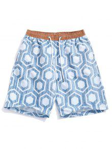 هندسية طباعة عطلة شاطئ السراويل عارضة - ازرق رمادي M