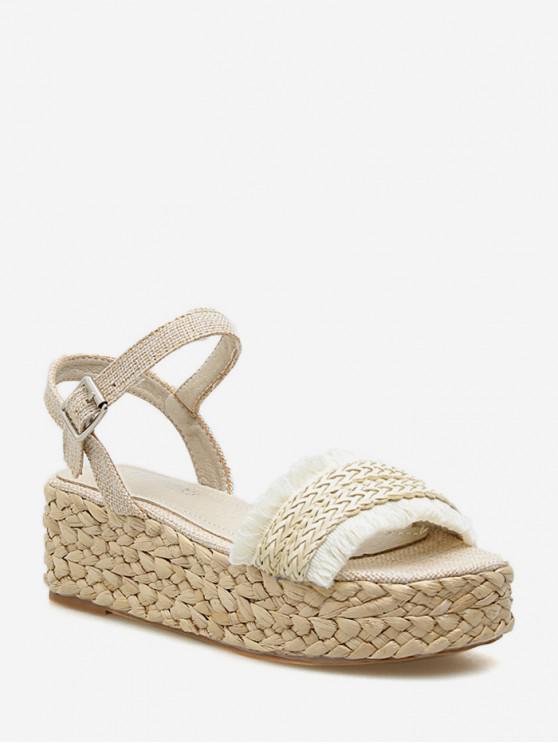 ladies Straw Weaving Platform Sandals - APRICOT EU 39