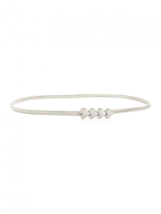 women Heart Design Alloy Waist Belt - SILVER