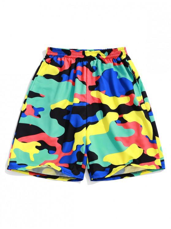 Pantalones cortos de impresión de camuflaje colorido - Aguamarina L