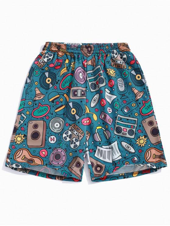 Shorts de fiesta con estampado de elementos musicales - Azul de Koi 4XL
