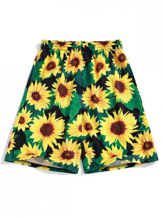 Pantalones cortos con estampado de girasol Allover - Amarillo XL
