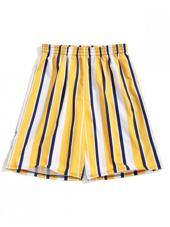 Pantaloncini Color Block Stripes Print Casual Board - Giallo Luminoso 4XL