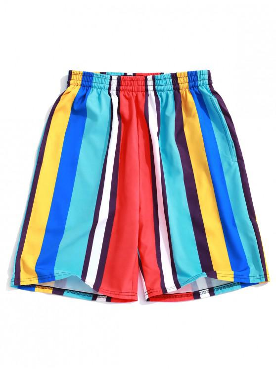 trendy Colorful Striped Print Board Shorts - BLUE ZIRCON XL