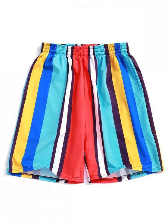 Shorts de tablero de impresión de rayas de colores - Azul Circonita  4XL