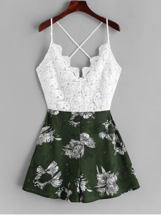 chic Lace Panel Criss Cross Floral Cami Romper - MULTI-D L