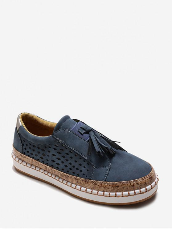 Slip On Hollow Out Nappa impreziosito da scarpe - Profondo blu UE 37