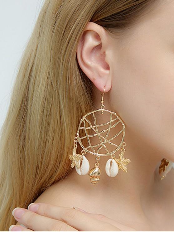 Dream Catcher鏤空流蘇貝殼耳環 - 金 海星貝殼