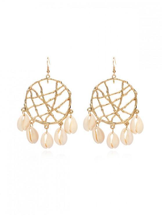 fancy Dream Catcher Hollow Fringe Shell Earrings - GOLD WHITE SHELL