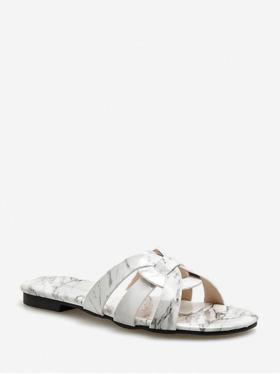 Sandales à glissières creuses rondes imprimées marbrées - Blanc EU 40