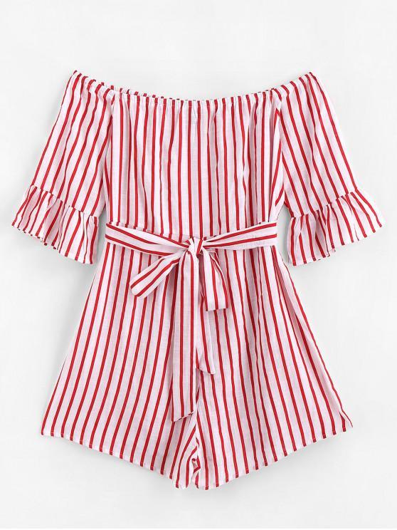 shops ZAFUL Flare Sleeve Off Shoulder Stripes Romper - RED S