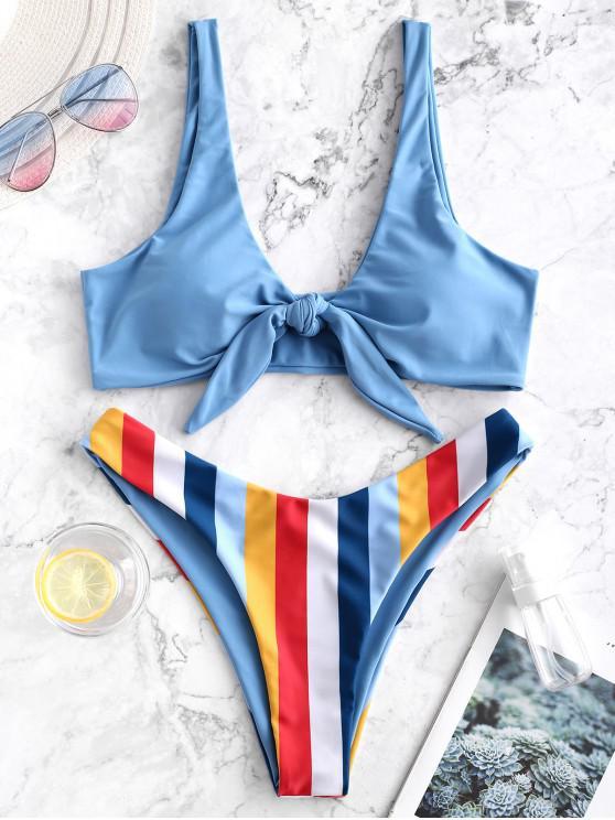 outfit ZAFUL Striped Knotted High Cut Bikini Swimsuit - MULTI-A L