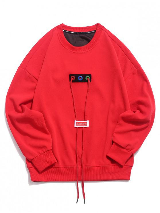 lady Good Letter Ribbon Drawstring Design Drop Shoulder Sweatshirt - RED M