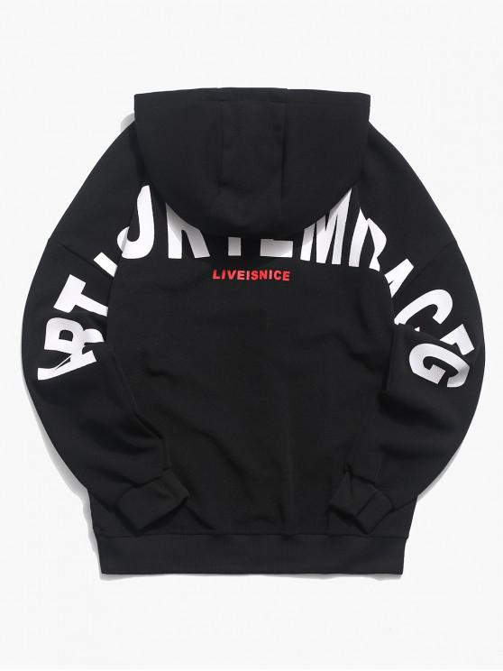 new Applique Letter Graphic Print Drop Shoulder Hoodie - BLACK L