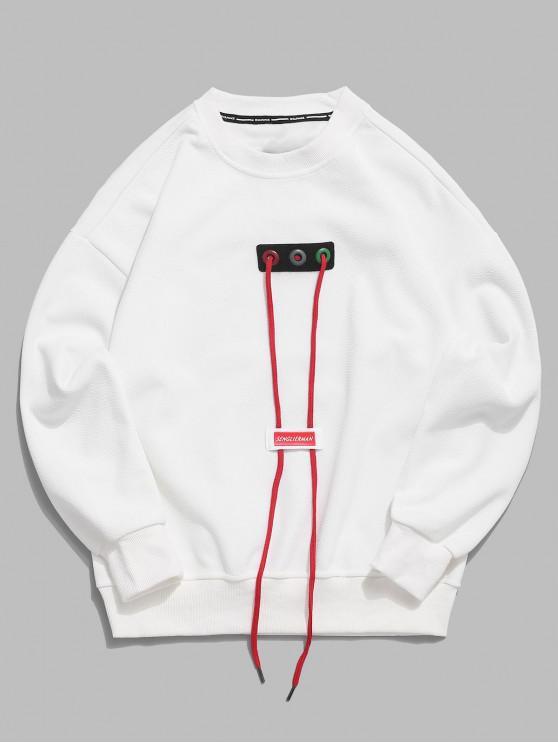 hot Good Letter Ribbon Drawstring Design Drop Shoulder Sweatshirt - WHITE M