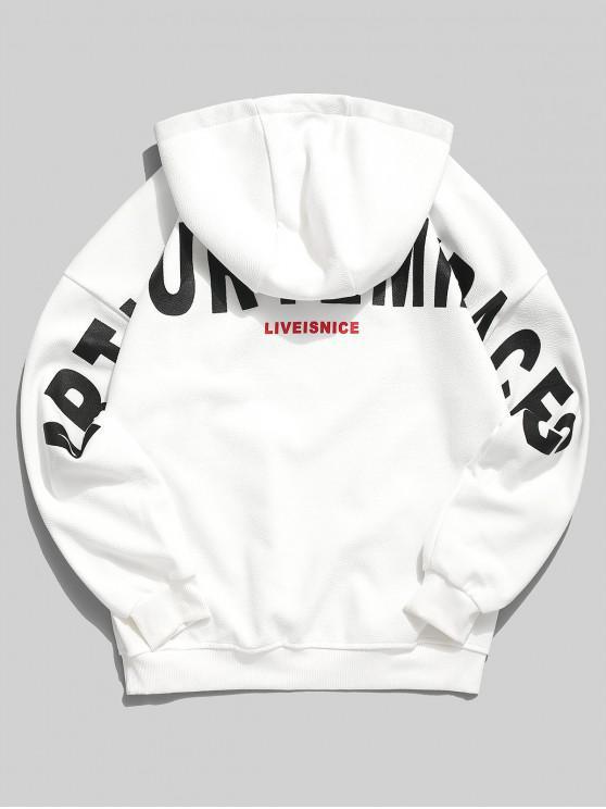 fashion Applique Letter Graphic Print Drop Shoulder Hoodie - WHITE L