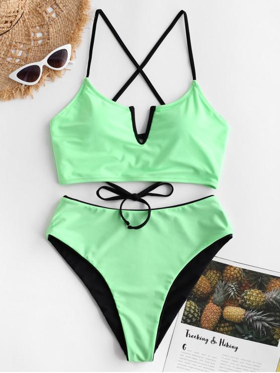 outfits ZAFUL V-wired Lace-up Reversible Tankini Swimsuit - MINT GREEN M
