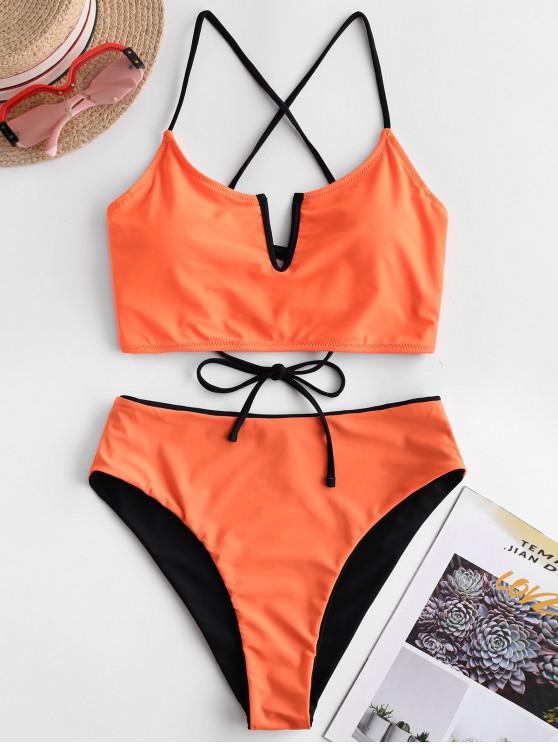ZAFUL Wende-Tankini-Badeanzug mit V-Kabel und Schnürung - Halloween Orange XL