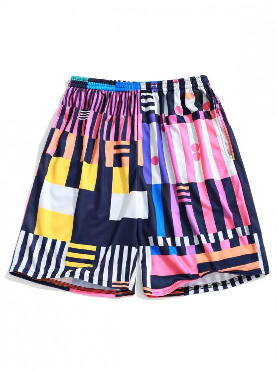 Shorts de playa con estampado de lunares geométricos de colores - Multicolor 3XL