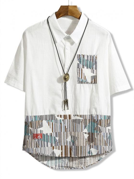 trendy Chest Pocket Striped Geometric Spliced High Low Shirt - WHITE XL