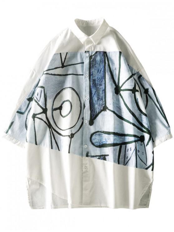 women's Cut Hem Graffiti Graphic Spliced Short Sleeve Button Up Shirt - WHITE XL