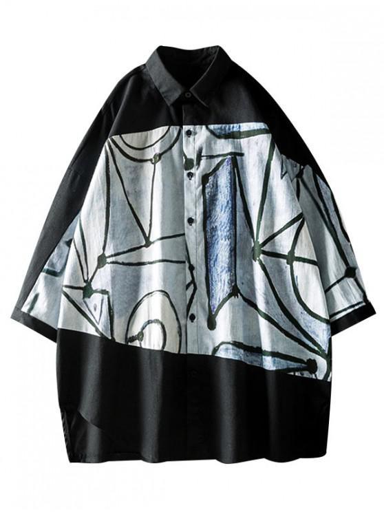 Camicia con bottoni a manica corta tagliata con stampa Hem Graffiti - Nero M