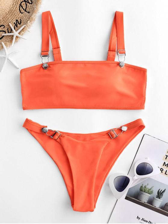 fancy ZAFUL Neon Suspender Buckle High Cut Bikini Swimsuit - HALLOWEEN ORANGE S