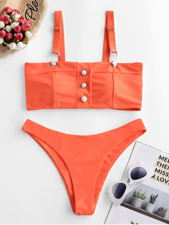 ZAFUL Beaded Suspender Buckle High Cut Swimsuit - Arancio Di Halloween L