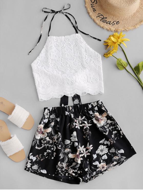 online Lace Panel Floral Wide Leg Two Pieces Suit - MULTI-B XL