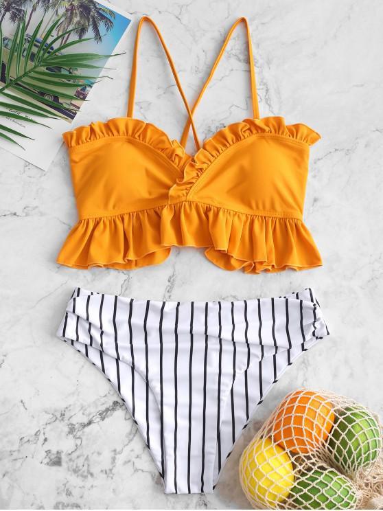 ladies ZAFUL Ruffle Lace Up Striped Tummy Control Tankini Swimsuit - BEE YELLOW S