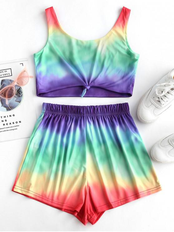 outfits Tie Front Rainbow Tie Dye Two Piece Set - MULTI-A L