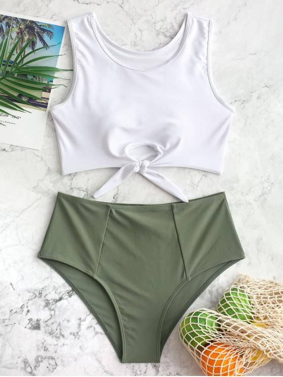 shops ZAFUL Color Block Tie Hem High Waisted Tankini Swimsuit - CAMOUFLAGE GREEN L