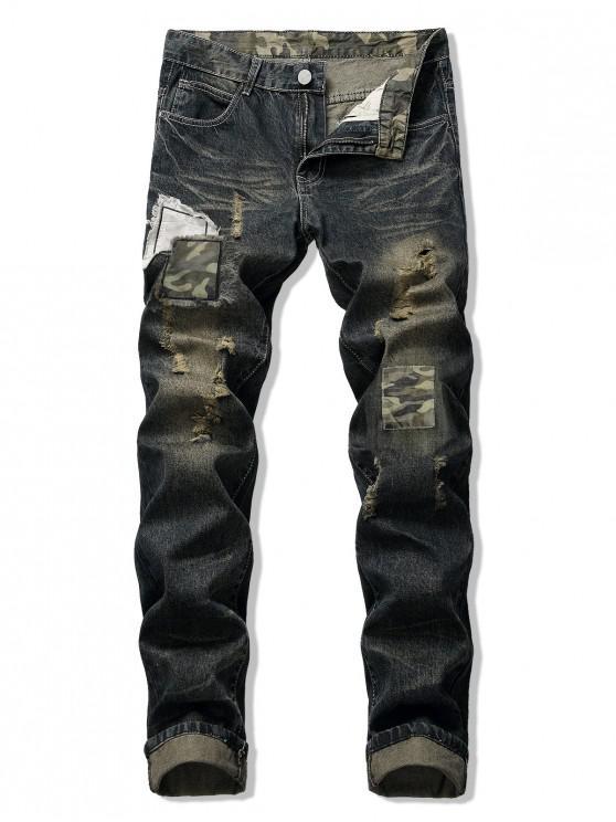 Pantalones vaqueros largos y rasgados con patchwork de camuflaje desgastados - Medianoche 34