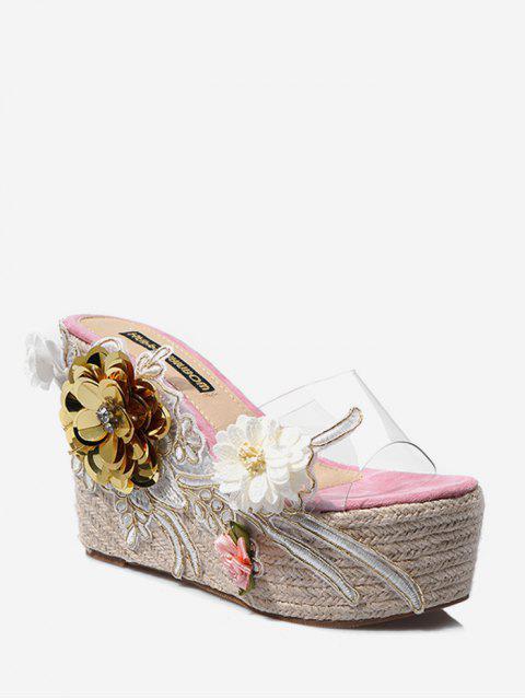 Sandales Plate-forme Transparentes Motif de Fleur - Rose  EU 36 Mobile