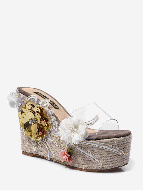 Sandales Plate-forme Transparentes Motif de Fleur - Cendre gris EU 35 Mobile