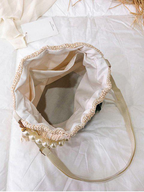 Sac d'épaule de seau de chaîne de paille - Blanc Lait  Mobile