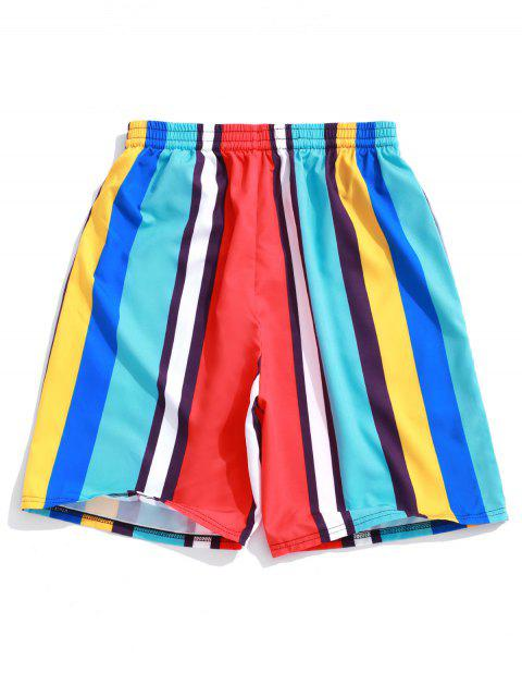 trendy Colorful Striped Print Board Shorts - BLUE ZIRCON XL Mobile