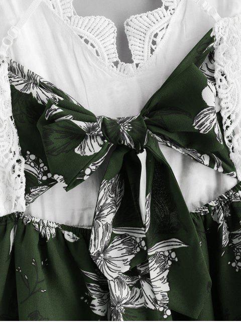 Panel De Encaje Criss Cross Floral Cami Romper - Multicolor-D M Mobile