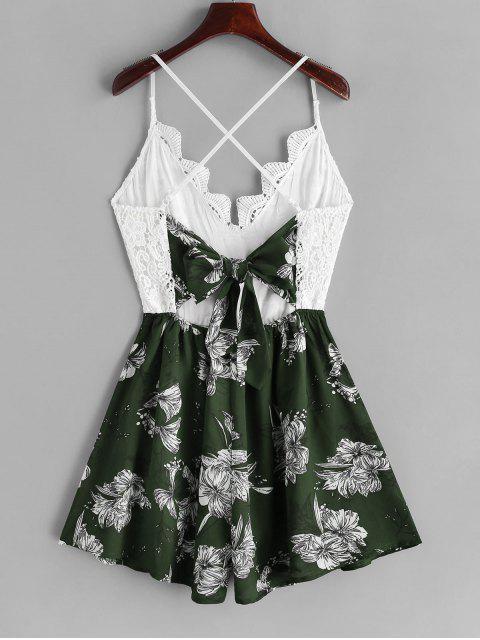 trendy Lace Panel Criss Cross Floral Cami Romper - MULTI-D M Mobile