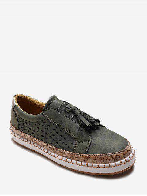 Chaussures Evidées Embellies de Frange - Vert Armée  EU 35 Mobile
