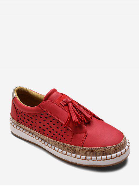 Chaussures Evidées Embellies de Frange - Rouge EU 37 Mobile