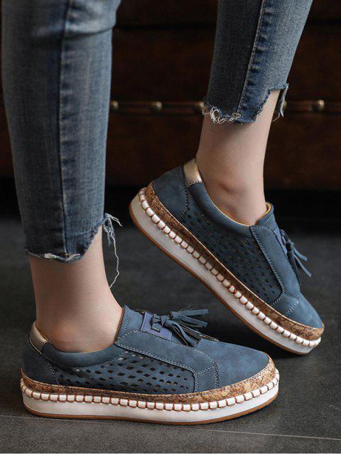 Chaussures Evidées Embellies de Frange - Bleu profond EU 39 Mobile