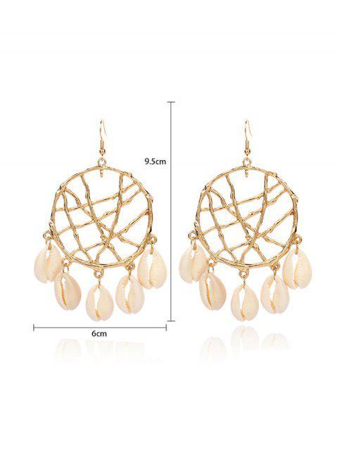 fancy Dream Catcher Hollow Fringe Shell Earrings - GOLD WHITE SHELL Mobile