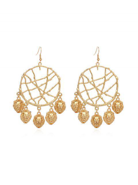 affordable Dream Catcher Hollow Fringe Shell Earrings - GOLD LION HEAD Mobile