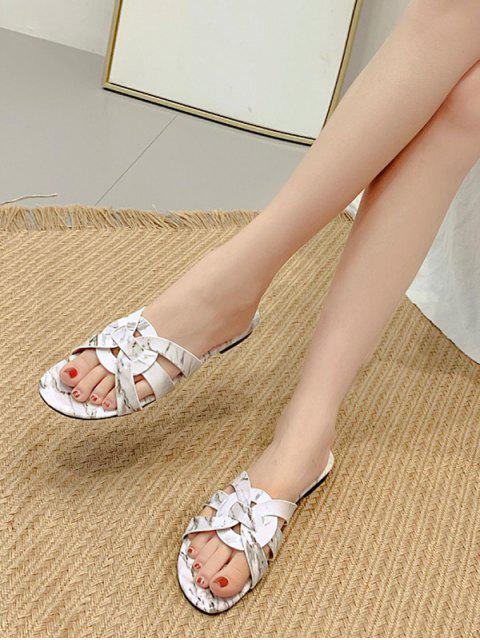 ladies Marbling Print Round Hollow Slides Sandals - WHITE EU 40 Mobile