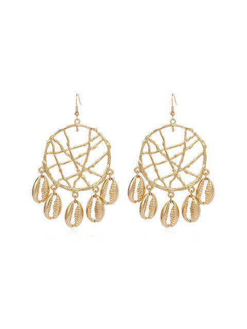 outfits Dream Catcher Hollow Fringe Shell Earrings - GOLD GOLDEN SHELL Mobile