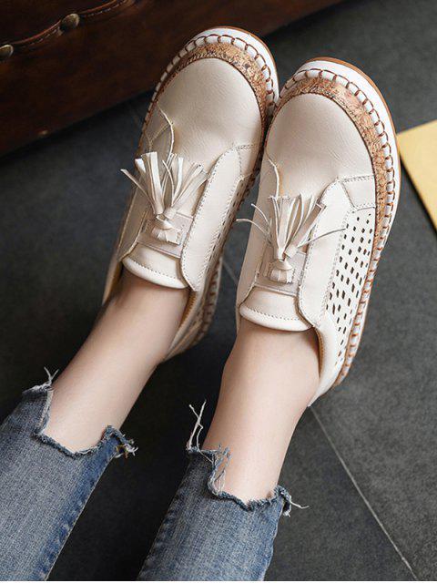 Chaussures Evidées Embellies de Frange - Beige EU 36 Mobile