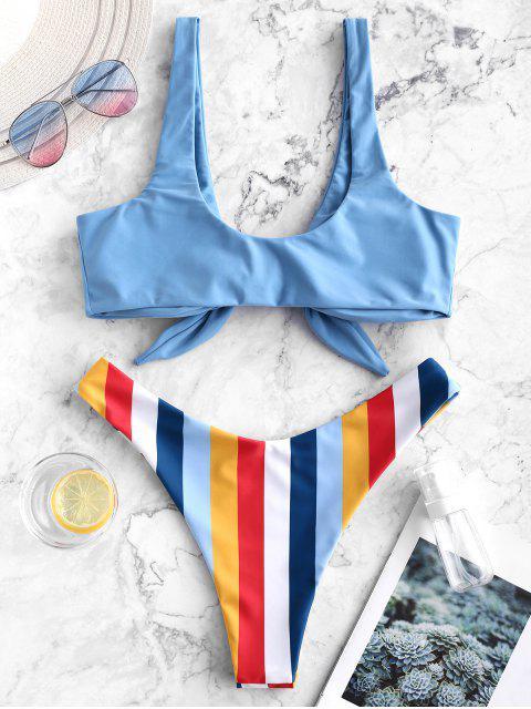 ZAFUL Maillot de Bain Bikini Noué Rayé à Coupe Haute - Multi-A S Mobile