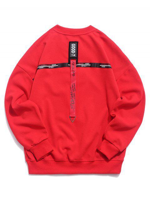 Sweat-shirt à épaules dénudées et à cordon - Rouge L Mobile