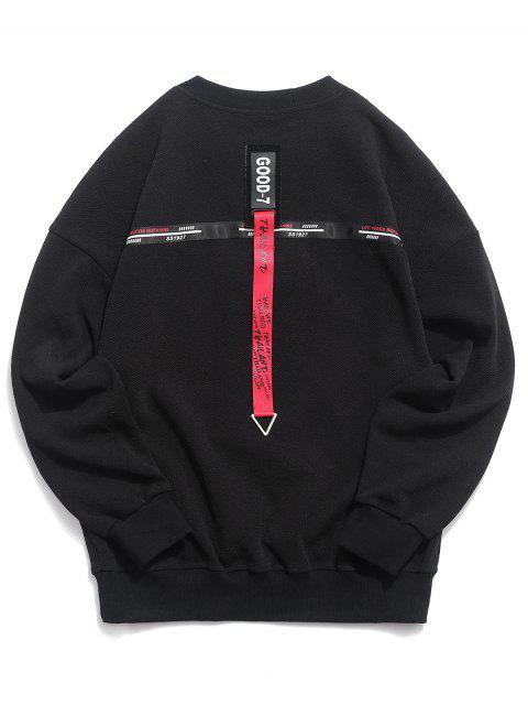 Sweat-shirt à épaules dénudées et à cordon - Noir 2XL Mobile